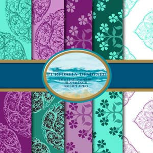 Turquoise  and Purple  Printable Digital Paper Design Pack- Instant Download-12 x 12 inch 300 dpi JPEG files