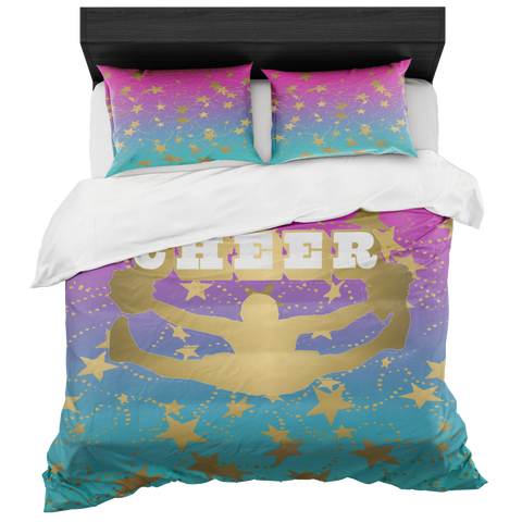 Cheer Silhouette With Stars in Gold  Magenta to Blue Gradient-Duvet -Bed-in-a-Bag- Includes Two Pillow Shams