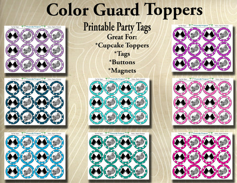 Color Guard- Printable Cupcake Toppers- Printable Party Favors - Instant Download
