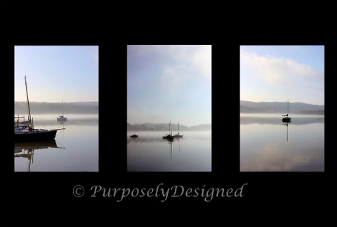 Foggy Morning- This is a TRIO of 3 coordinating -11x 14 inch Fine Art Prints