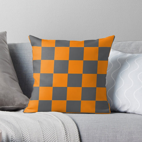 Tennessee Orange and Smokey Grey Checker Pattern Throw Pillows