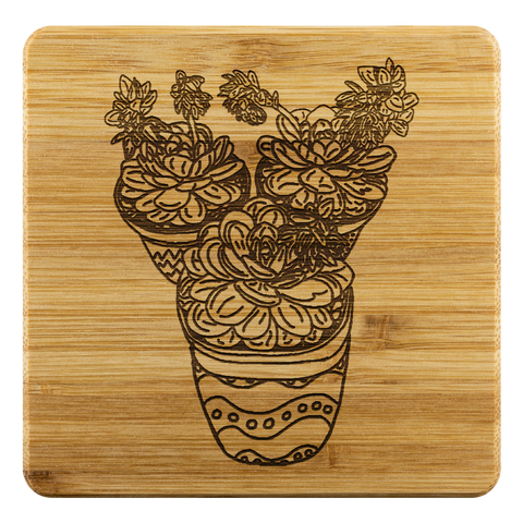 Succulent Trio Design- Bamboo Coaster Set-by Hxlxynxchxle