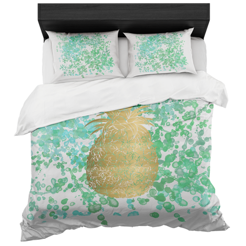 Gold Pineapple with Watercolor Inspired Background Duvet Bed-in-a-Bag Set with 2 Pillow Cases Included