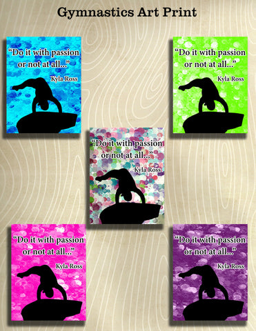 Passion -Gymnastics Poster- Print can be personalized- Choose your size and Color