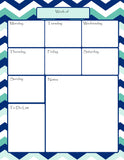Teachers Planner Pack -8 Chevron Planning Calendar's -Instant Download- Printable PDF**Not Editable**