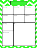 Teachers Planner Pack -8 Lime Green Chevron Planning Calendar's -Instant Download- Printable PDF**Not Editable**