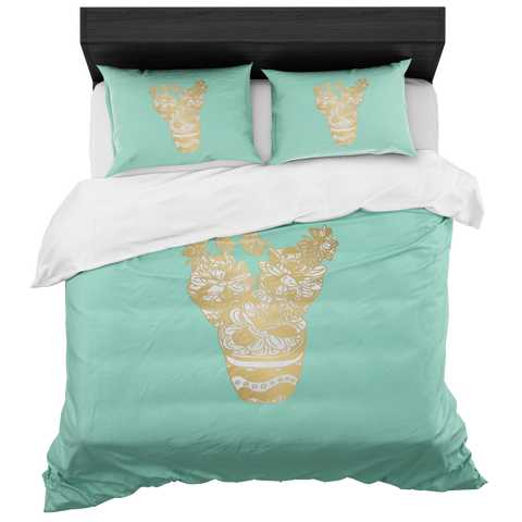 Mint Trio of Succulents In Gold- Bed-in-a-Box Duvet Set-by Hxlxynxchxle