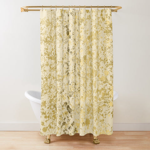 Almond Oil and Gold Patina Design Textured Fabric Shower Curtain