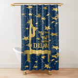 Gymnastics Live Your Dream on Navy and Gold Stars Textured Fabric Shower Curtain