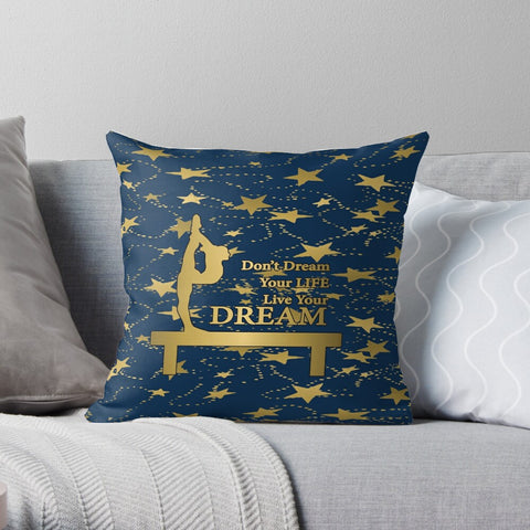 Gymnastics Live Your Dream on Navy and Gold Stars-Premium Hypoallergenic Throw Pillow