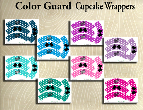 Color Guard- Printable Cupcake Wrappers- Printable Party Favors - Instant Download