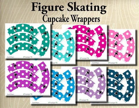 Figure Skating- Printable Cupcake Wrappers- Printable Party Favors - Instant Download