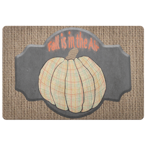 Plaid Pumpkin Fall is in the Air Doormat with Burlap Background