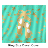 Ballet Shoes Silhouette in Gold and Aqua with Stars Duvet with 2 Pillow Shams