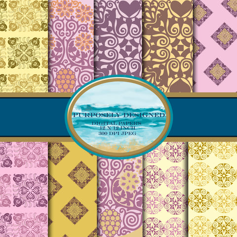 Purple and Golden Designs -Printable Digital Paper Design Pack- Instant Download-12x12 inch 300 dpi JPEG files
