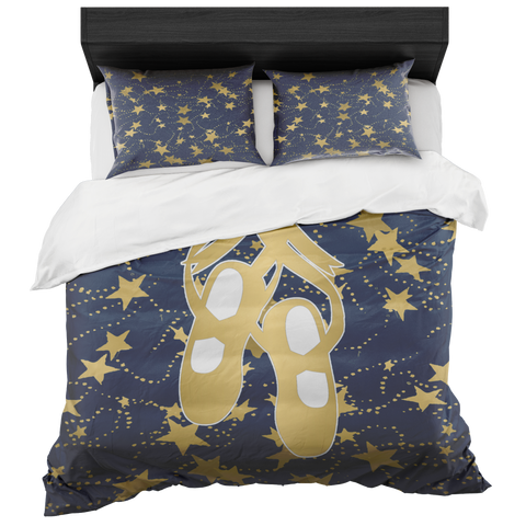 Ballet Shoes Silhouette in Gold with Stars and Navy-Duvet with 2 Pillow Shams