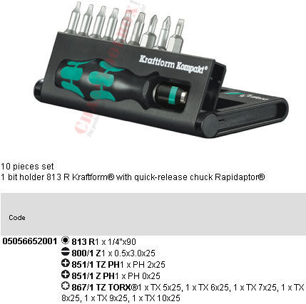 05056652001 WERA KRAFTFORM KOMPAKT 11 (10 PC SET)