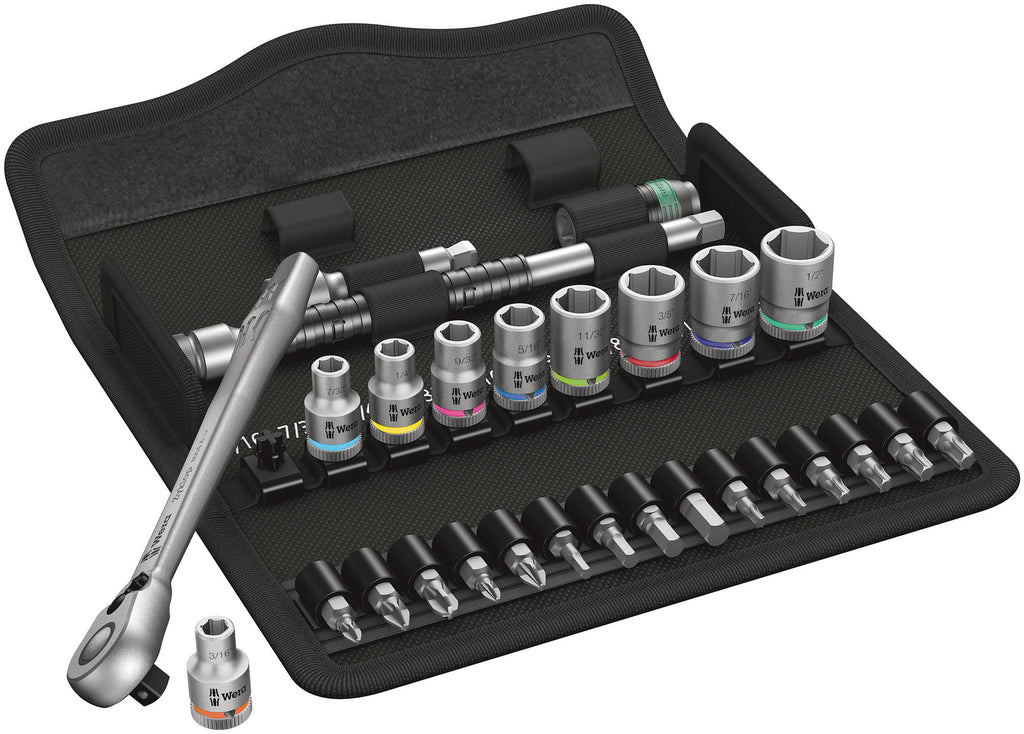 WERA 05004021001 8100 SA 11 ZYKLOP METAL RATCHET SET. IMPERIAL 1/4 28PIECE RATCHET SET WITH SWITCH LEVER IMPERIAL