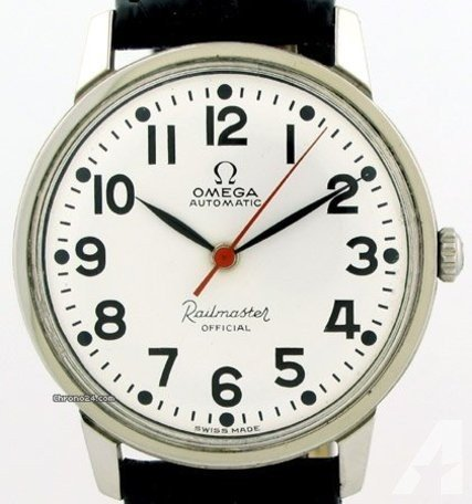 White Omega Railmaster dial with leaf hands