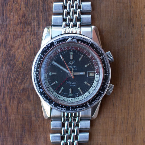 1970 Enicar Sherpa red and white bezel