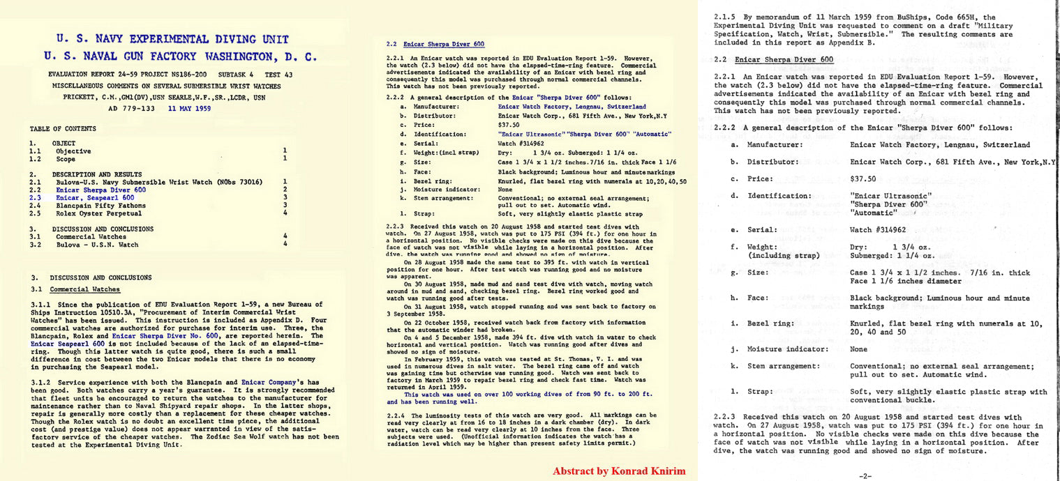 U.S. Navy diving unit evaluation document for diver watches