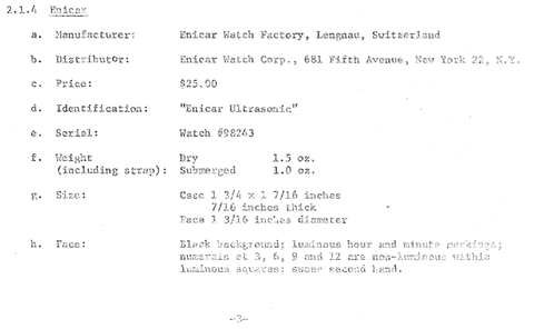 Model description of Early Sherpa dive watches
