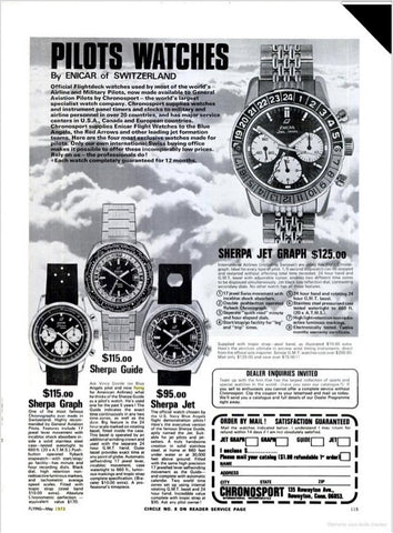 Enicar Pilot watches ad