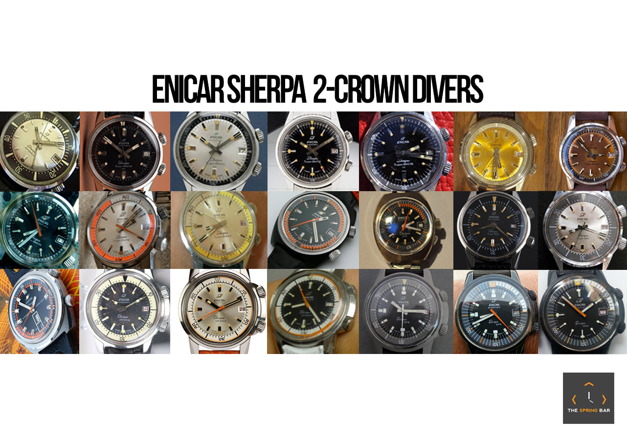 Enicar Sherpa 2 Crown Diver Collage
