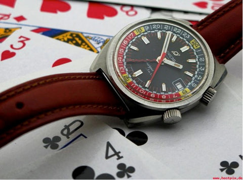 Enicar Sherpa Jet checkered chapter ring