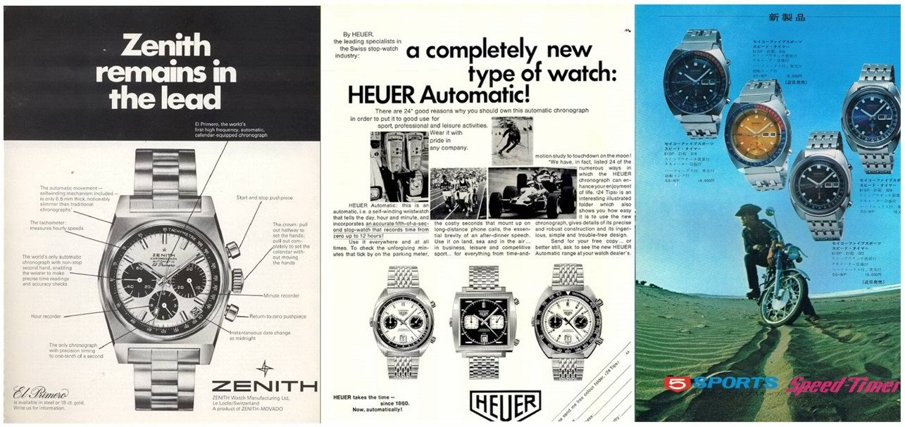Chronograph watch vintage ads (Zenith, Heuer and Seiko Pogue)