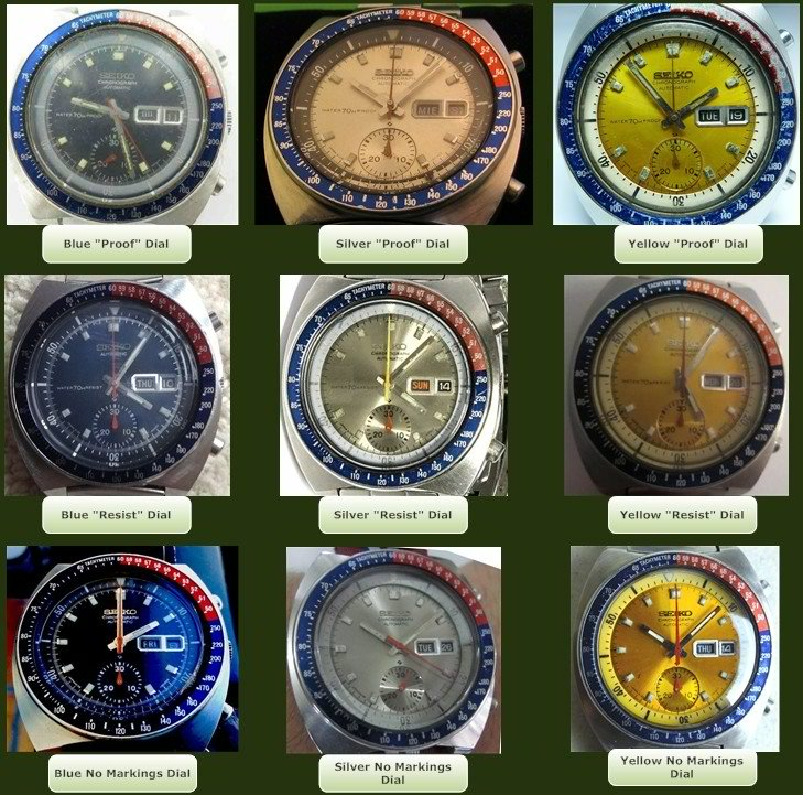 Seiko Pogue nine dial variations