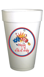 styrofoam cups with firecracker 4th of july image on cups
