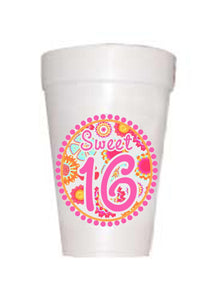 Retro hot pink deisgn with 16 in middle of styrofoam cup
