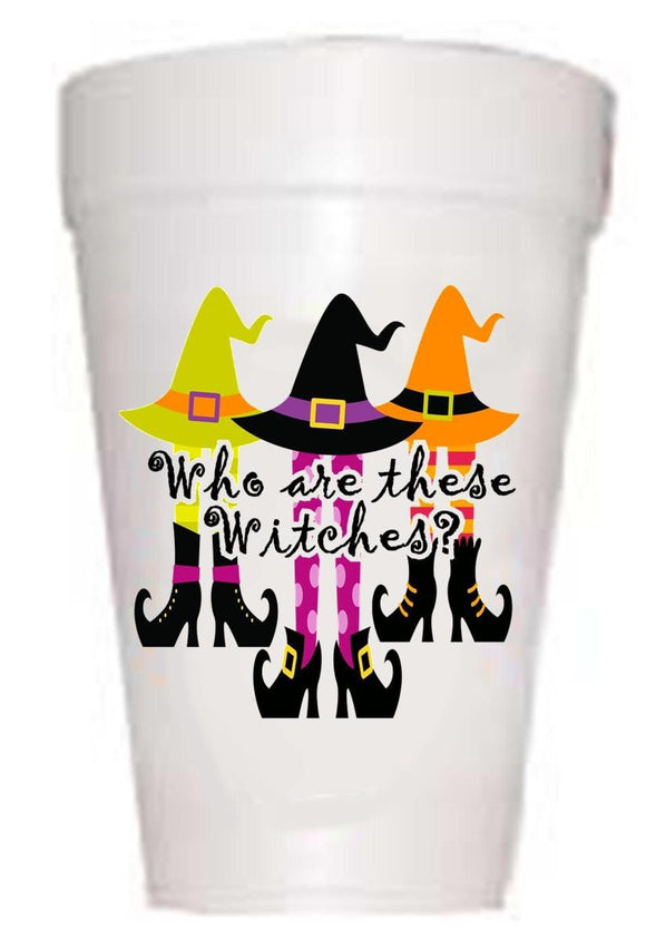 Witches Hats with Who are these witches? Styrofoam Halloween Cups