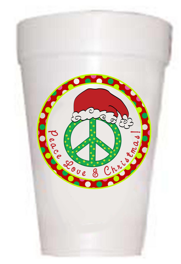 Peace Love & Christmas Styrofoam Cups
