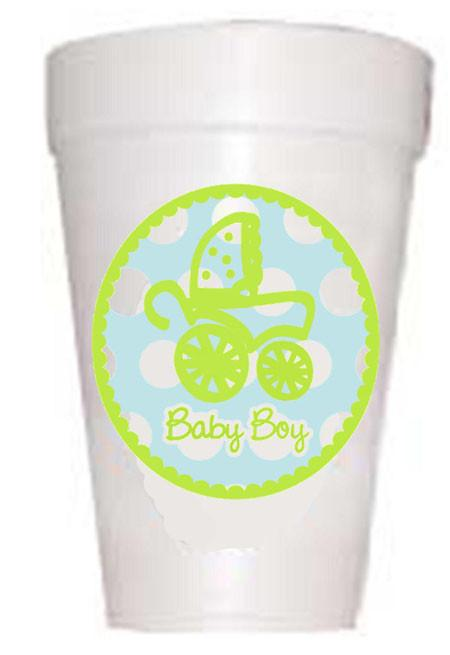 Boy in Baby Carriage Cups - Preppy Mama