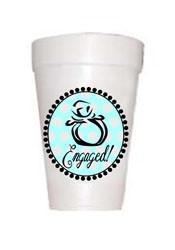 Engaged cups with image of engagement ring in blue