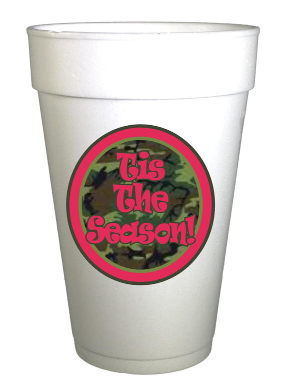 'Tis the Season Camo Red Christmas Cups - Preppy Mama
