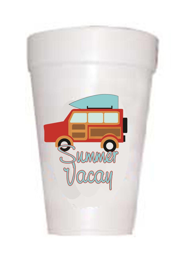 styrofoam cup with jeep and surf board on top with text summer vacay