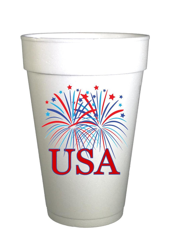 fireworks with USA printed on styrofoam cups