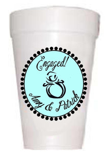 Personalized Engagement Party Cups-Custom Engagement Ring Cups-Preppy Mama