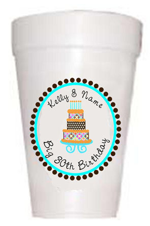 Personalized Blue Birthday Cake Birthday Cups-Custom Full Color Cups-Preppy Mama
