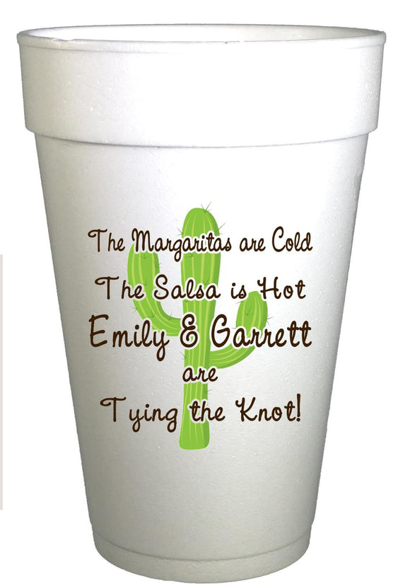Personalized Fiesta Party Wedding Cups-Cactus Logo Wedding Shower Cups-Preppy Mama