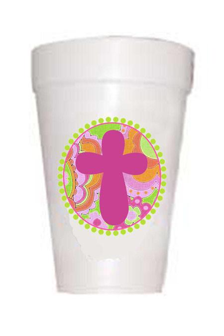 Easter Pink Paisley Cross Styrofoam Cups - Preppy Mama