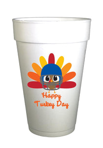 Turkey Football Thanksgiving Cups-Happy Turkey Day Thanksgiving Styrofoam Cups-Preppy Mama