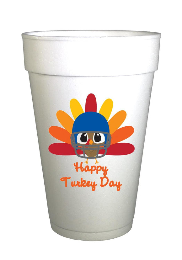 Turkey Football-Happy Turkey Day Thanksgiving Styrofoam Cups
