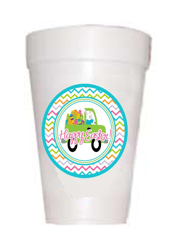 Easter Bunny Truck Styrofoam Cups - Preppy Mama