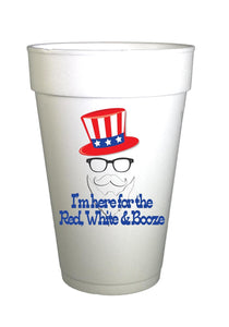 Patriotic Uncle Same with Red White and Booze written on cup