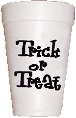 Trick or Treat in black Halloween styrofoam cups on Preppy Mama