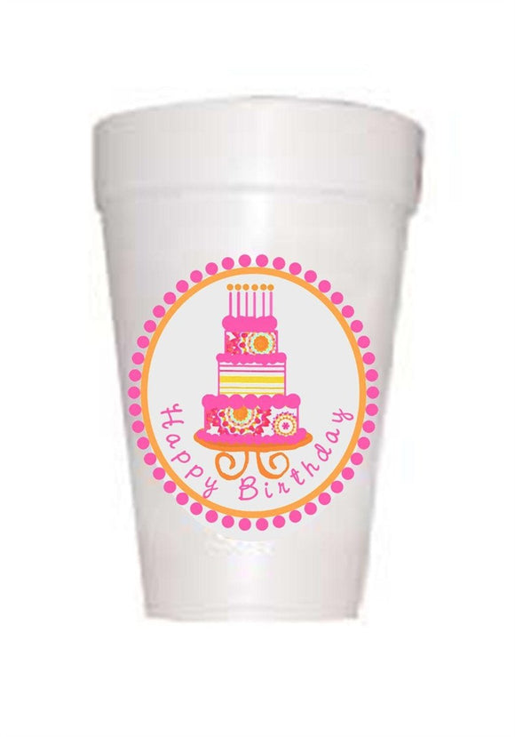 pink birthday cake on styrofoam cup